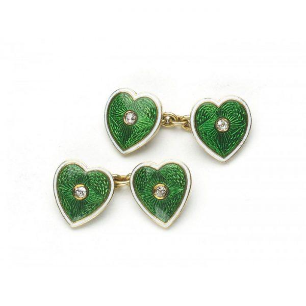 Antique Edwardian Enamel & Diamond Heart Cufflinks