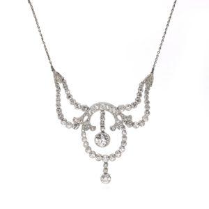 Antique Edwardian Old Cut Diamond Swag Necklace