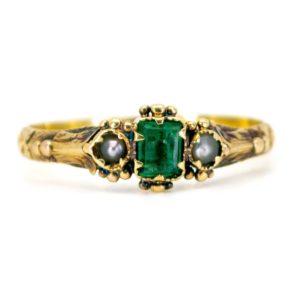 Antique Georgian Emerald & Pearl Gold Ring