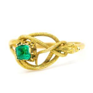 Antique Georgian Emerald Set Snake Gold Ring