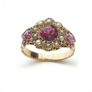 Antique Georgian Garnet Pearl Gold Ring