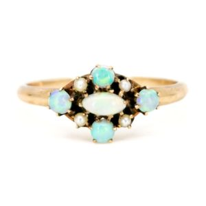 Antique Late Victorian Opal & Pearl Gold Ring