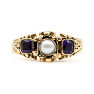 Antique Victorian Amethyst & Pearl Gold Ring