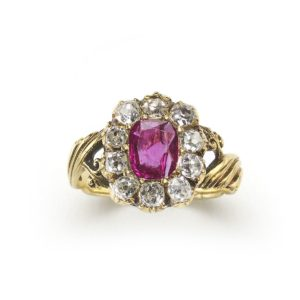 Antique Victorian Burmese Ruby & Diamond Cluster Ring