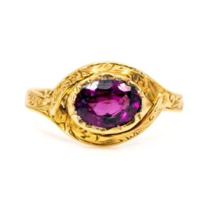 Antique Victorian Garnet Engraved Gold Ring