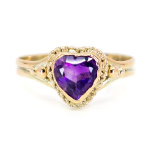 Antique Victorian Heart Amethyst Gold Ring