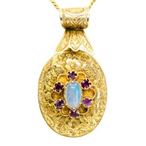 Antique Victorian Moonstone & Ruby Pendant Locket
