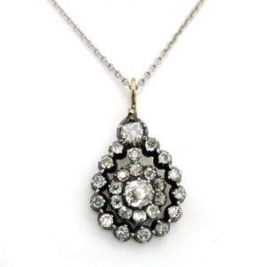 Antique Victorian Old Cut Diamond Pendant and Chain