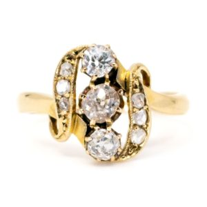 Antique Victorian Old Mine Cut Diamond Gold Ring