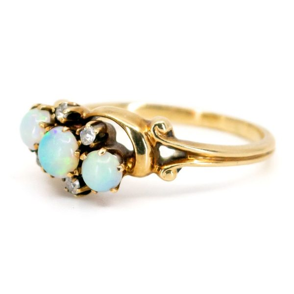 Antique Victorian Opal & Diamond Crossover Gold Ring