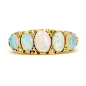 Antique Victorian Opal & Diamond Five Stone Ring