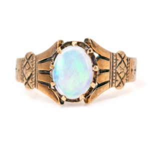 Antique Victorian Opal & Engraved Gold Ring