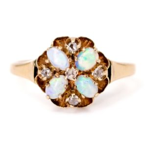 Antique Victorian Opal & Rose Cut Diamond Ring