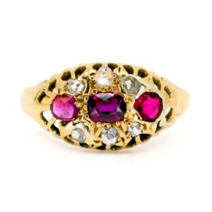 Antique Victorian Ruby & Rose Cut Diamond Ring