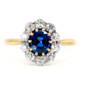 Antique Victorian Sapphire & Diamond Cluster Ring