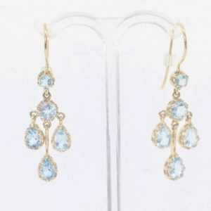 Aquamarine Chandelier Gold Drop Earrings
