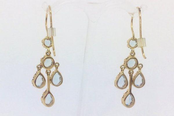 Aquamarine Chandelier Gold Drop Earrings