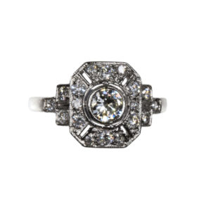 Vintage Art Deco Style Diamond Panel Ring in Platinum