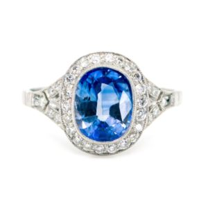 Art Deco Style 2.25ct Sapphire & Diamond Platinum Cluster Ring