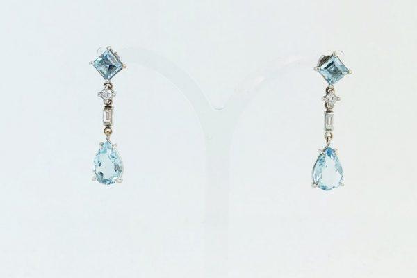 Art Deco Style Aquamarine Diamond Drop Earrings