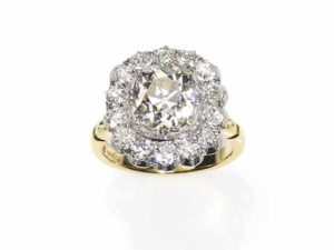 Antique style old cushion cut diamond cluster ring gold cut down setting vintage engagement ring