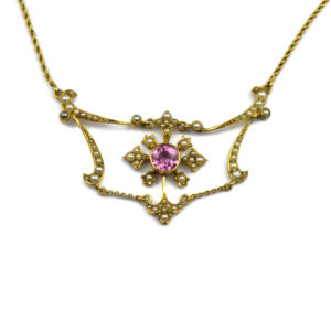 Antique Edwardian Pink Tourmaline and Split Pearl Necklace in 15ct gold