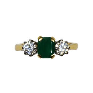 Vintage Emerald and Diamond Three Stone Ring in 18ct Gold