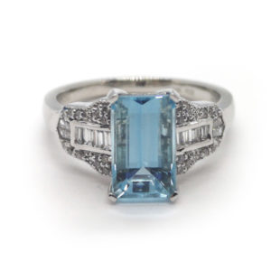 Emerald Cut Aquamarine and Diamond Dress Ring, Platinum