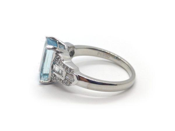 Emerald Cut Aquamarine and Diamond Dress Ring, Platinum