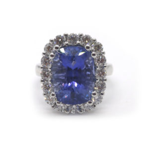 Sri Lankan Sapphire and Diamond Cluster Ring, 8.77ct