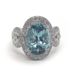Fine Aquamarine and Diamond Ring, Platinum