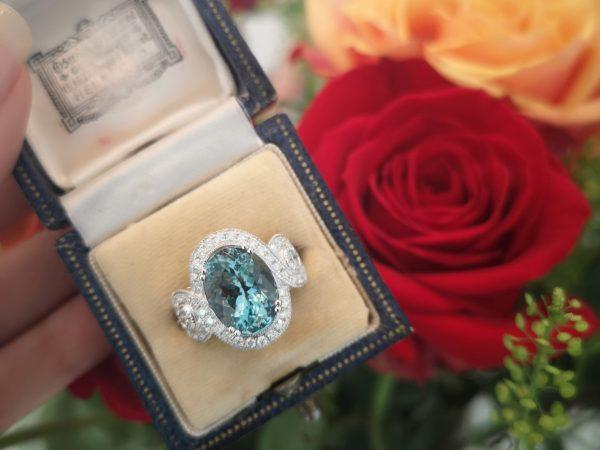 Fine Aquamarine and Diamond Ring, Platinum