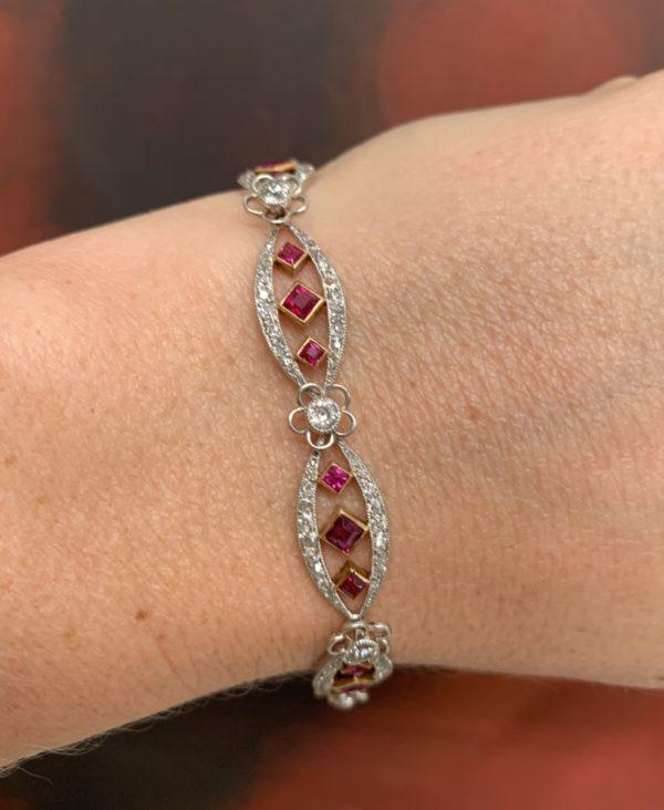 Edwardian diamond ruby line bracelet open square ruby rubies burma