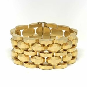 vintage gold cuff retro 1940 1950 gold link bracelet london