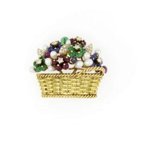 18ct Yellow Gold Gem Set 'Basket of Flowers' Brooch