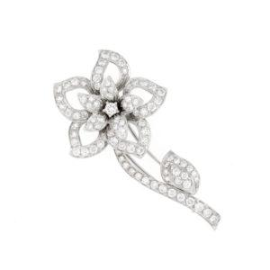 Diamond Set Flower Brooch in 18ct White Gold