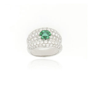Fine Emerald and Diamond Dress Ring, 18ct White Gold