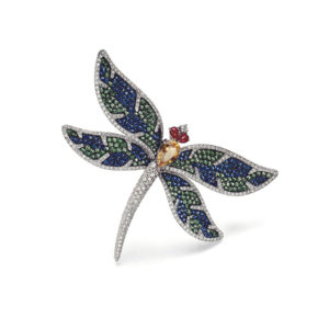 Sapphire, Diamond and Ruby Set Dragonfly Brooch in 18ct Gold