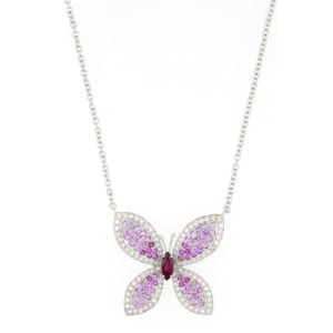 Pink Sapphire, Ruby and Diamond Set Butterfly Necklace, 18ct White Gold