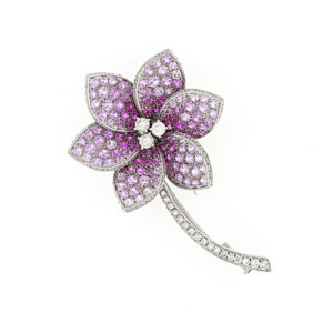 Fine Pink Sapphire and Diamond Flower Brooch, 18ct White Gold