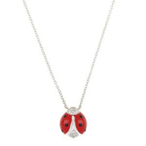 Diamond Set Enamel Ladybird Necklace, 18ct White Gold