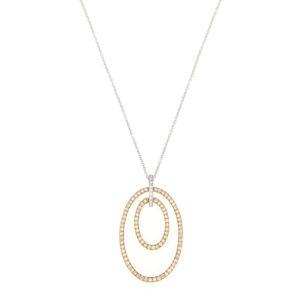 Diamond Set Double Drop Pendant Necklace, 18ct Gold