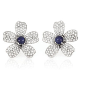 Cabochon Cut Sapphire and Diamond Flower Earrings, 18ct White Gold