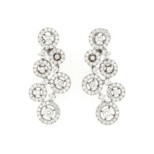 Fine Circular Diamond Drop Earrings, 18ct White Gold