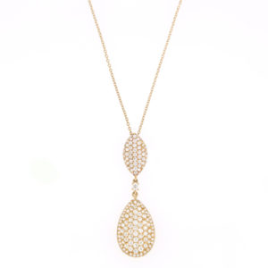 Diamond Set Double Drop Pendant Necklace, 18ct Yellow Gold