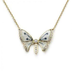 Plique à Jour Enamel Diamond Butterfly Pendant Necklace