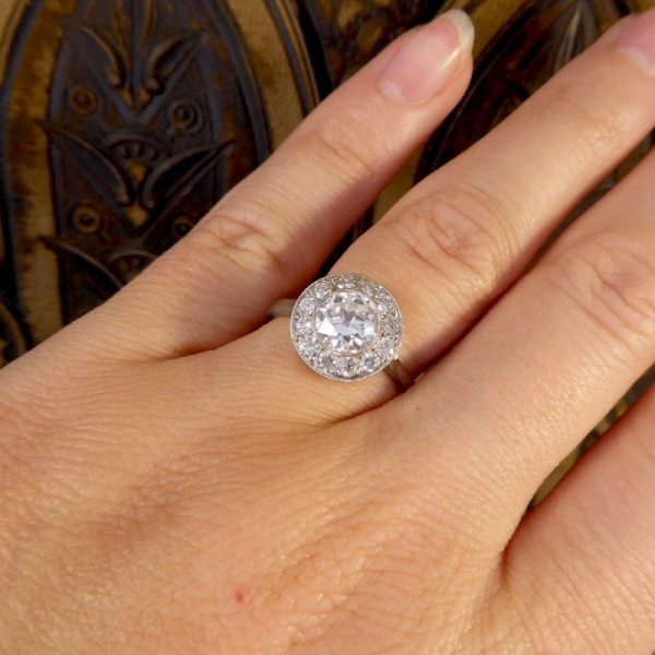 1.65ct Total Diamond Target Ring in 18ct White Gold and Platinum