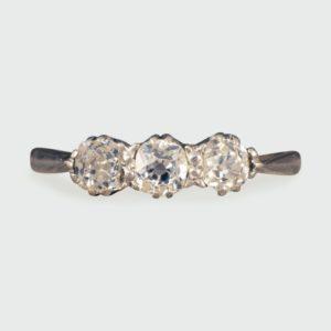 Antique Edwardian Old Cut Diamond Three Stone Ring, 18ct Gold and Platinum