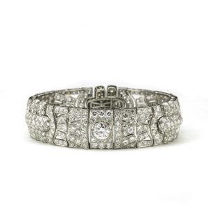 Art Deco Diamond Panel Bracelet Platinum 25 carats 1930's London wide