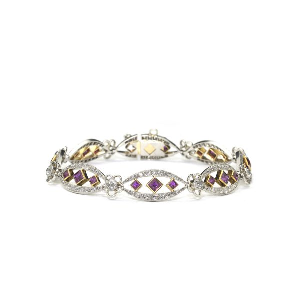 Antique Early 20th Century Burma Ruby and Diamond Platinum Bracelet. French Edwardian rare